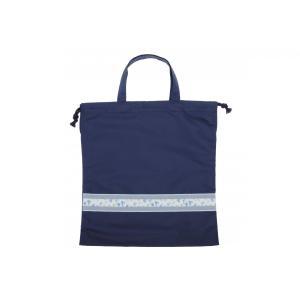 ナイロン靴袋[リボンテープ/ブルー] お受験 紺 シューズケース|ernie-essie
