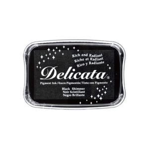 消しゴムはんこに最適「デリカータL」ブラックシマー(ツキネコ)クッキリ鮮明な発色のメタリックカラー系スタンプインク!ラバースタンプにも|es-selection|02