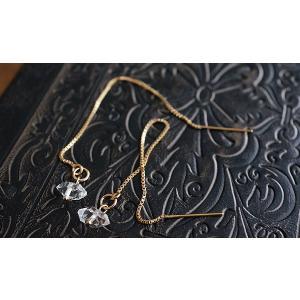 NY産 ハーキマーダイヤモンド ピアス K14GF 天然石 ピアス チャーム 14金ゴールドフィルド レディース ロングピアス アメリカンピアス|es-style