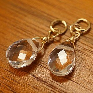 クリスタル ペアシェイプ ピアス チャーム K14GF 水晶 ピアス チャーム 天然石 14金 ゴールドフィルド レディース フープピアス|es-style