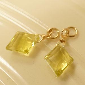 レモンクォーツ ダイヤカット ピアス チャーム K14GF 水晶 おしゃれ 1粒 天然石 14金 ゴールドフィルド レディース フープピアス|es-style