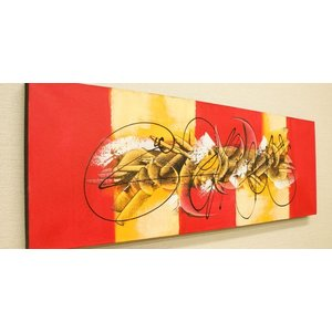 バリ絵画 モダンアート 100×35 04 バリ 絵画 壁掛け アート アジアン アートパネル モダン 北欧 ファブリックパネル|es-style
