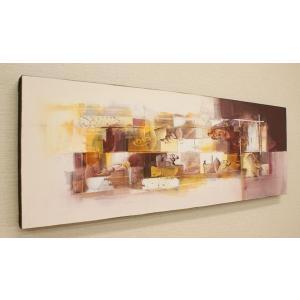 バリ絵画 モダンアート 100×35 23 アートパネル 絵画 壁掛け アート アジアン 北欧 モダン 抽象画 ファブリックパネル|es-style