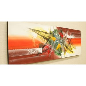 バリ絵画 モダンアート 100×35 27 バリ 絵画 壁掛け アート アジアン アートパネル モダン 北欧 ファブリックパネル|es-style