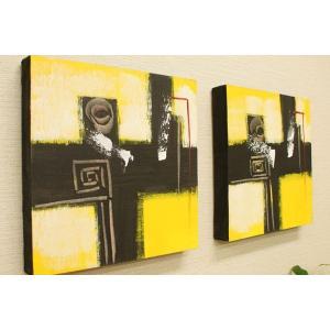 バリ絵画 モダンアート 30×30 01 アートパネル バリ 絵画 壁掛け アート アジアン 雑貨 北欧 モダン 抽象画 ファブリックパネル|es-style