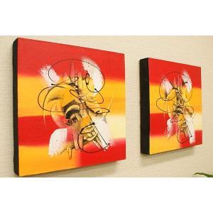 バリ絵画 モダンアート 30×30 04 アートパネル バリ 絵画 壁掛け アート アジアン 雑貨 北欧 モダン 抽象画 ファブリックパネル|es-style