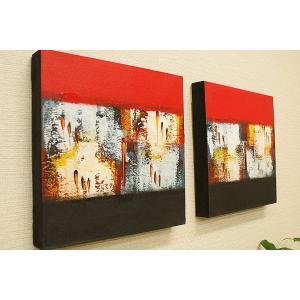 バリ絵画 モダンアート 30×30 14 アートパネル バリ 絵画 壁掛け アート アジアン 雑貨 北欧 モダン 抽象画 ファブリックパネル|es-style