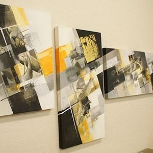 バリ絵画 モダンアート 3連 28 絵画 壁掛け アート アートパネル 3連 アジアン モダン 北欧 ファブリックパネル バリ|es-style