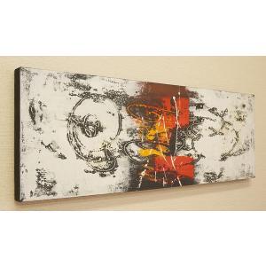 バリ絵画 モダンアート 100×35 30 アートパネル 絵画 インテリア アート 壁掛け アジアン 北欧 モダン 抽象画 ファブリックパネル|es-style