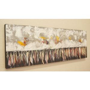 バリ絵画 モダンアート 100×35 31 アートパネル 絵画 インテリア アート 壁掛け アジアン 北欧 モダン 抽象画 ファブリックパネル|es-style