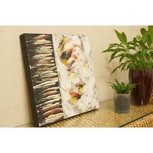バリ絵画 モダンアート 40×40 31 アートパネル 絵画 インテリア おしゃれ アート 壁掛け アジアン 北欧 モダン 抽象画 ファブリックパネル|es-style
