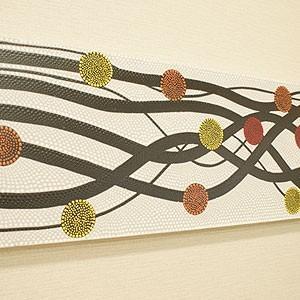 バリ絵画 ドットアート 100×35 N アートパネル モダン 絵画 壁掛け アート アジアン 北欧 ファブリックパネル バリ インテリア|es-style