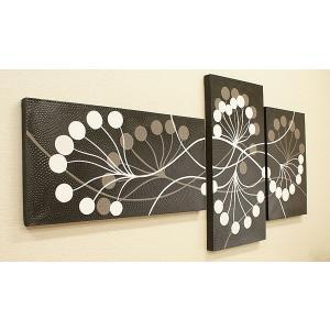 バリ絵画 3連複合 ドットアート 04 アートパネル 3連 アジアン バリ 絵画 壁掛け アート アボリジニ 北欧 インテリア ファブリックパネル|es-style