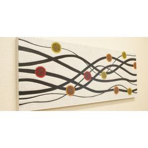 バリ絵画 ドットアート 120×45 N アートパネル アジアン バリ 絵画 壁掛け アート 北欧 モダン ファブリックパネル ドットペインティング|es-style