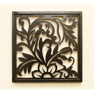 アートパネル リゾートリーフB 40×40 チーク アートフレーム 木製 アジアン アートパネル バリ ファブリックパネル 壁掛け インテリア 北欧 レリーフ|es-style
