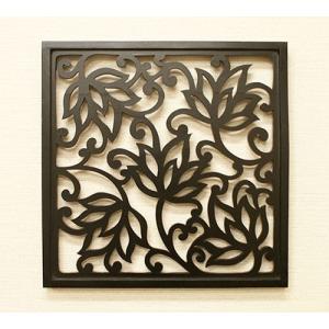 アートパネル ロータス 40×40 チーク アートフレーム 木製 アジアン アートパネル バリ ファブリックパネル 壁掛け インテリア 北欧 レリーフ|es-style