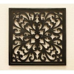 アートパネル オリエンタルアラベスク 40×40 チーク アートフレーム 木製 アジアン アートパネル バリ ファブリックパネル 壁掛け インテリア 北欧 レリーフ|es-style