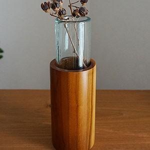 バリガラス&チークウッド 一輪挿し ラウンド 花瓶 ガラス おしゃれ 北欧 木製 アジアン雑貨 バリ 造花|es-style