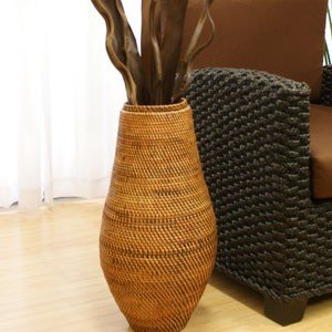 ラタン フラワーベース B アンティークブラウン おしゃれ 籐 アタ 花瓶 フラワーベース 大型 アートプランツ 和 アジアン 造花|es-style
