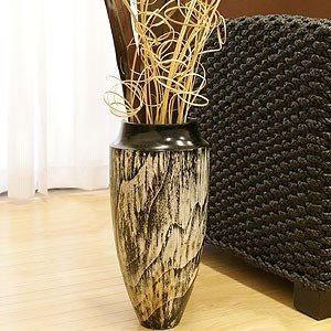 チーク フラワーベース ブラックウォッシュ おしゃれ 花瓶 フラワーベース 大型 木製 北欧 高級感 シンプル モダン アジアン雑貨 バリ雑貨 造花 和|es-style