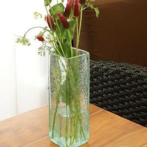 クラック ガラス フラワーベース 花瓶 おしゃれ 北欧 大型 シンプル アジアン雑貨 リサイクルガラス バリ スクエア Mサイズ|es-style