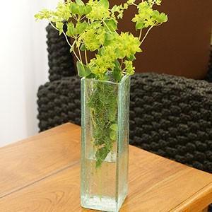 バリガラス フラワーベース クラック スクエア Sサイズ 花瓶 ガラス フラワーベース おしゃれ 小 シンプル アジアン 雑貨 バリ|es-style