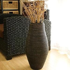 おしゃれ フラワーベース 大きい ラタン フラワーベース B ブラックウォッシュ 花瓶 バスケット アートプランツ アタ アジアン 雑貨 バリ 造花 和|es-style