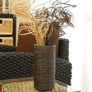 ラタン フラワーベース C ブラックウォッシュ おしゃれ 花瓶 フラワーベース 大きい 和風 藤 造花 アートプランツ アタ アジアン バリ|es-style