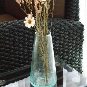 クラック ガラス フラワーベース A-L 花瓶 おしゃれ 大型 リサイクルガラス 大きい 丸型 シンプル アジアン雑貨 北欧 アジアン系|es-style