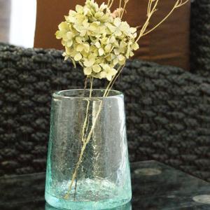 クラック ガラス フラワーベース B 花瓶 おしゃれ 丸型 シンプル アジアン雑貨 バリ 北欧 アジアン系|es-style