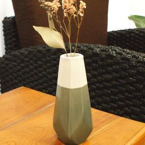 陶器 フラワーベース 花瓶 おしゃれ 北欧 シンプル 卓上 アジアン雑貨 タバナン焼き Aタイプ グレー ホワイト|es-style