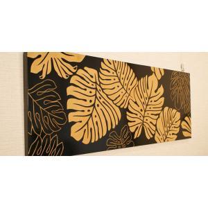 アートフレーム モンステラ 100×35 アジアン雑貨 アートパネル モダン 北欧 絵画 壁掛け アート 木製 アジアン バリ 雑貨 インテリア|es-style