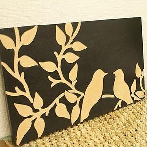 アートフレーム バード 50×30 ブラック アートパネル 木製 モダン アジアン 雑貨 バリ 北欧 アート 壁掛け インテリア ウッドスカルプチャーアート|es-style