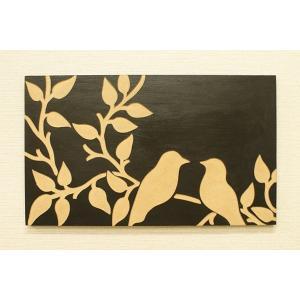 アートフレーム バード 50×30 ブラック アートパネル 木製 モダン アジアン 雑貨 バリ 北欧 アート 壁掛け インテリア ウッドスカルプチャーアート|es-style|05