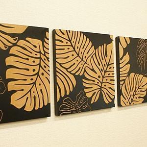 アートフレーム 3連 モンステラ アートパネル 3連 北欧 壁掛け アート レリーフ モダン アジアン バリ 木製 ウッドスカルプチャーアート|es-style