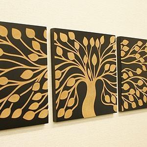 アートフレーム 3連 ツリー アートパネル 3連 北欧 壁掛け アート レリーフ モダン アジアン バリ 木製 ウッドスカルプチャーアート|es-style