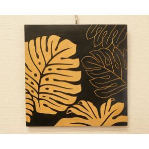 アートフレーム モンステラ 40×40 A アジアン アートパネル おしゃれ 壁掛け モダン 北欧 レリーフ ウッドスカルプチャー|es-style