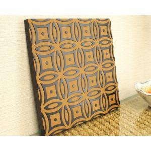 アートパネル おしゃれ モダン アジアン雑貨 ウッドレリーフ 壁掛け インテリア 北欧 アートフレーム バティック 30×30|es-style