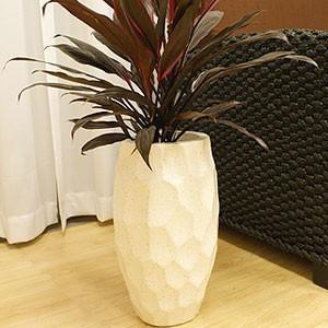 植木鉢 おしゃれ 大型 鉢 ストーン フラワーベース なぐり模様 ホワイト 和風 モダン ガーデニング アジアン バリ インテリア アジアン系|es-style