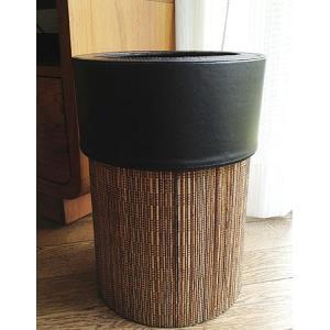ゴミ袋が見えないゴミ箱 パームリディ ラウンドタイプ  天然素材のパームリディと、フェイクレザーでモ...