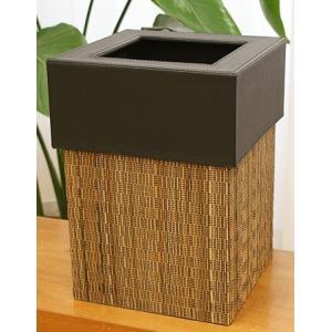 ゴミ袋が見えないゴミ箱 パームリディ スクエアタイプ  天然素材のパームリディと、フェイクレザーでモ...