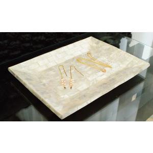 アジアン雑貨 シェル トレイ パールホワイト L おしゃれ アクセサリートレイ トレー バリ雑貨 ホワイト カピス貝 北欧 モダン|es-style