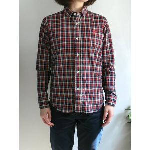 weac. (ウィーク) パグちゃんシャツ RED CHECK −小衿シャツ− 【LADIES】|escargot-circus