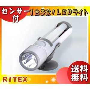 「送料無料」ライテックス ASL-030 懐中電灯付LEDセンサーライト 電池式 白色LED球×3 屋内用「ASL030」|esco-lightec