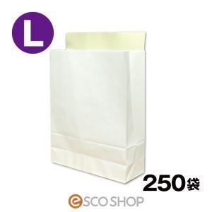 宅配袋 梱包袋 大 Lサイズ 250枚 テープ付き 白色 無地 250袋 晒片艶 日本製 405*3...