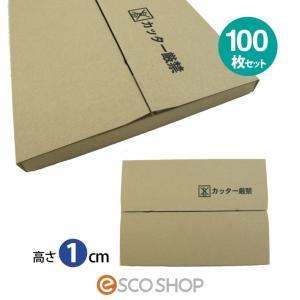 薄型ダンボール箱 厚さ1cm A4サイズ 100枚セット(メール便対応 ヤマト DM便 ネット販売 ゆうパケット 送る 郵便ポスト 梱包箱)(送料無料)|escoshop