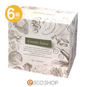 (6箱セット)グリーンジュース 3g×30包 (青汁 ケール ゴーヤ 大麦若葉 植物発酵エキス 健康飲料 ジャパンギャルズ)(送料無料)|escoshop