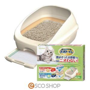 デオトイレ ハーフカバー本体セット ナチュラルアイボリー(システムトイレ 排泄 消臭 消臭サンド 猫砂 抗菌 猫用 ユニチャームペット)|escoshop