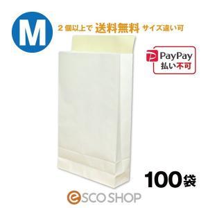 宅配袋 梱包袋 中 Mサイズ 100枚 テープ付き 白色 無地(B4 100袋 晒片艶 日本製 梱包資材 紙袋 宅急便 420*260*70mm)(2個で送料無料)|escoshop