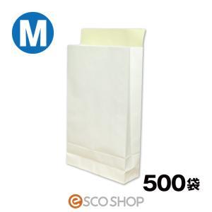 宅配袋 梱包袋 中 Mサイズ 500枚 テープ付き 白色 無地(B4 500袋 晒片艶 日本製 梱包資材 紙袋 宅急便 420*260*80mm)(送料無料)(同梱不可)|escoshop